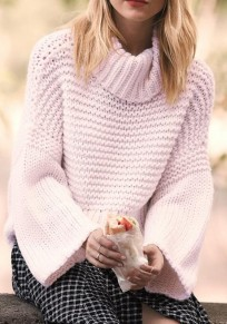 Light Pink Plain High Neck Long Sleeve Casual Loose Pullover Sweater