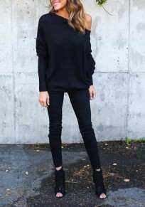 Black Plain Off-shoulder Casual Dolman Sleeve Loose Pullover Sweater