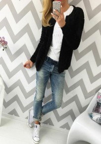 Cardigan en tricot gilet ouverte uni manches longues col rond casual slim noire femme