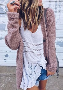 Pink Plain Single Breasted Long Sleeve Casual Cardigan Sweater
