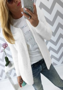 White Plain Round Neck Long Sleeve Cardigan Sweater