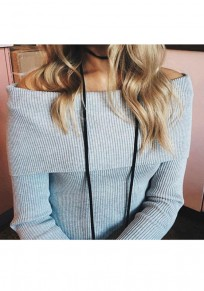 Grey Plain Boat Neck Off-shoulder Long Sleeve Slim Pullover Sweater