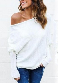 White Plain Round Neck Long Sleeve Pullover Sweater