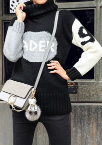 Black Monogram Pattern High Neck Streetwear Cotton Pullover Sweater