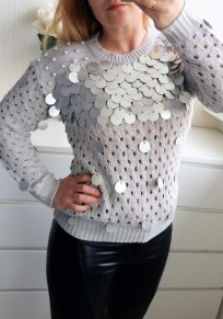 Grey Patchwork Sequin Hollow-out Pearl Fashion Pullover Sweater