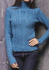 Dark Blue Patchwork Pattern High Neck Elegant Wool Pullover Sweater