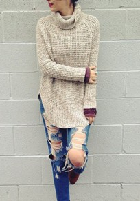 Light Grey Plain Irregular Double Slit High Neck Casual Pullover Sweater
