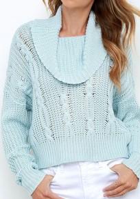Blue Plain High Neck Fashion Acrylic Pullover Sweater