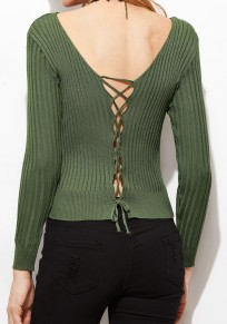 Pull avec uni cordon de serrage v-cou pur coton de mode vert foncé