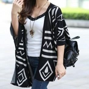 Black Geometric Print Irregular 3/4 Sleeve Side Slit Knit Oversized Cardigan Sweater