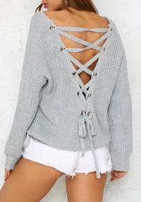 Suéter corte cordón cuello en V sin espalda manga larga gris