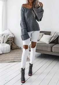 Suéter cuello en V cubierto manga larga moda gris