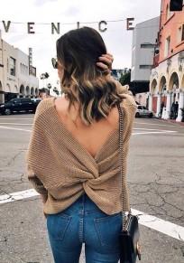 Apricot Irregular V-neck Backless Pullover Sweater