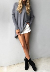 Grey Draped Irregular Round Neck Long Sleeve Sweater