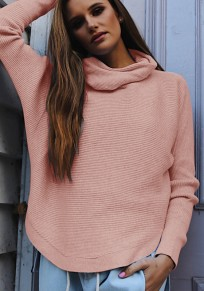 Pink High Neck Long Sleeve Casual Polyester Pullover Sweater