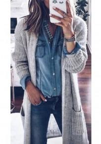 Grau Flickwerk Taschen Rundhals Mode Damen Lässige Cardigan Lange Strickjacke mit Langarm