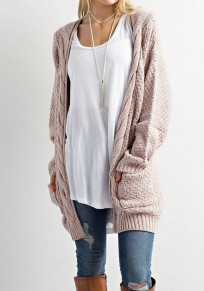 Khaki Patchwork Pockets Long Sleeve Casual Cardigan Sweater