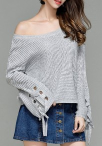Grey Drawstring Round Neck Long Sleeve Pullover Sweater
