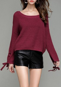 Rose Carmine Drawstring Round Neck Long Sleeve Pullover Sweater