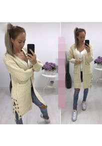 Khaki Pockets Drawstring Long Sleeve Casual Cardigan Sweater