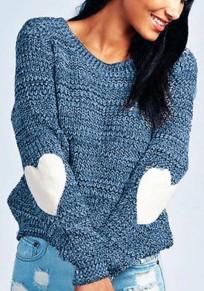Blau Love Splicing Oversize Rundhals Langarm Beiläufige Wollpullover Strickpullover Damen