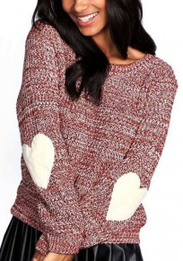 Burgundy Love Oversize Round Neck Long Sleeve Pullover Sweater