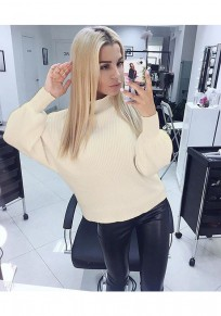 Beige Plain High Neck Casual Pullover Sweater
