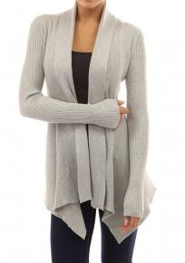 Grey Irregular Long Sleeve Casual Cotton Cardigan Sweater