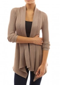 Brown Irregular Long Sleeve Casual Cotton Cardigan Sweater