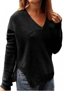 Schwarzes Schlitz V-Ausschnitt Langarm Beiläufige Oversize Strickpullover Mode Damen