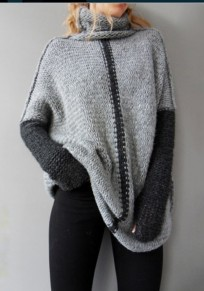 Grey Patchwork Irregular High Neck Long Sleeve Pullover Sweater