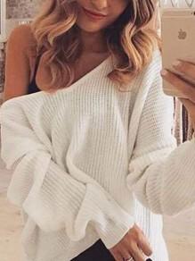 Weiß One Shoulder Schulterfreie Oversize V-Ausschnitt Langarm Beiläufiger Strickpullover Damen Sweater