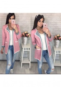 Pink Plain Pockets Casual Cardigan Sweater