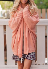 Pink Irregular Turndown Collar Long Sleeve Casual Cardigan Sweater
