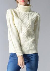 Pullover collo alto manica lunga casuale bianco