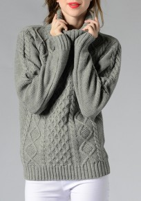 Grey High Neck Long Sleeve Casual Knitwear Jumper Pullover Sweater