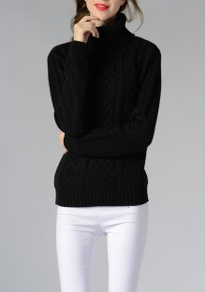 Pulóveres cuello alto manga larga casuales negro