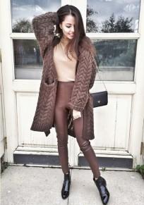 Kaffee Taschen V-Ausschnitt Langarm Mode Cardigan Damen Strickpullover Mantel