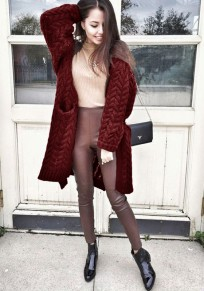 Wine Red Pockets Turndown Collar Long Sleeve Casual Cardigan Sweater