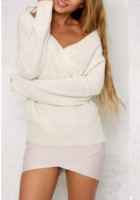 White Bandeau Off Shoulder Backless Oversize Casual Pullover Sweater
