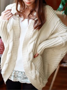 Beige Geometric Irregular Cable Knit Dolman Sleeve Oversize Casual Cardigan Sweater