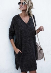 Black Plain Pockets V-neck Fashion Pullover Sweater