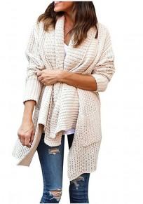 Beige Pockets Irregular Turndown Collar Long Sleeve Casual Cardigan Sweater
