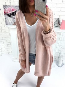 Pink Pockets Long Sleeve Casual Acrylic Cardigan Sweater