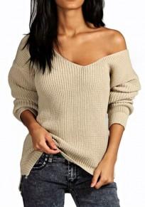 Pull en tricot ample épaule tombante v-cou manches longues femme mode blanc cassé