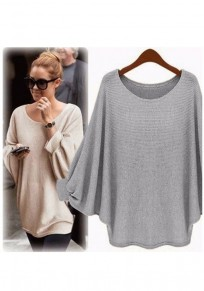 Grey Round Neck Dolman Sleeve Loose Casual Pullover Sweater