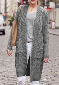 Cardigan poches v-col manches longues gris