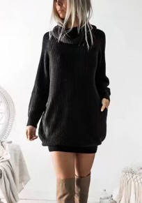 Black Plain Pockets Polo Neck Casual Pullover Sweater