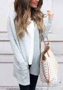 Grey Pockets Draped Oversize Long Sleeve Casual Cardigan Sweater