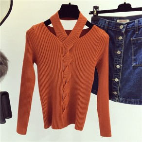 Orange Plain Cut Out Casual Pullover Sweatshirt
